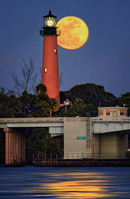 Photograph - Full Moon Behind Jupiter Lighthouse by Justin Kelefas