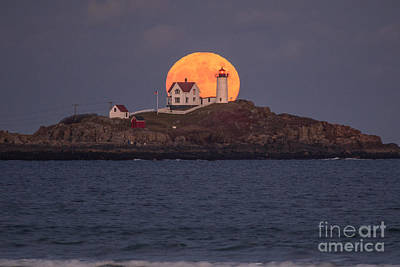 Winter Landscapes Photograph - Full Moon Behind Nubble by Benjamin Williamson