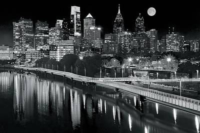 Rocky Statue Photograph - Full Moon Black And White In Philly by Frozen in Time Fine Art Photography