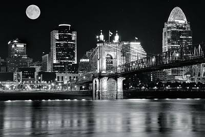 Photograph - Full Moon Black Night In Cinci by Frozen in Time Fine Art Photography
