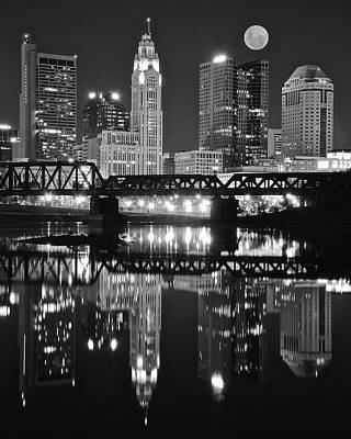 Photograph - Full Moon Black Night In Columbus by Frozen in Time Fine Art Photography