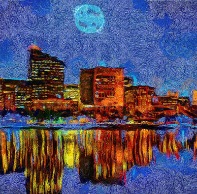 Painting - Full Moon Boston Skyline Reflection by Dan Sproul