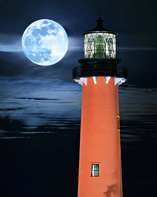 Photograph - Full Moon Closeup Next To Jupiter Lighthouse In Florida by Justin Kelefas