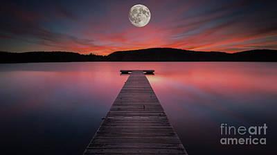 Photograph - Full Moon Dock by Scott Harrison