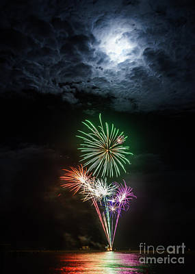 Photograph - Full Moon Fireworks by Silken Photography