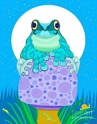 Digital Art - Full Moon Froggy  by Nick Gustafson