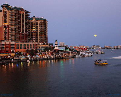 Photograph - Full Moon Harbor by Larry Beat