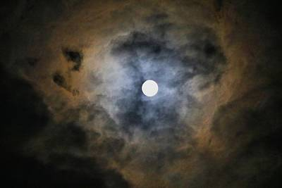 Photograph - Full Moon In A Cloudy Sky by Kathryn Meyer