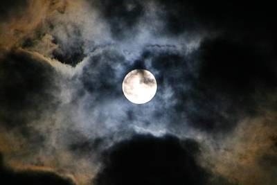 Photograph - Full Moon In Iridescent Clouds by Kathryn Meyer