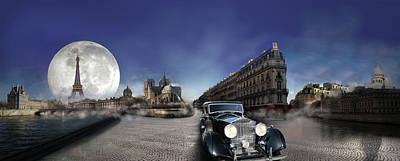 Photograph - Full Moon In Paris With Classic Car Passing  by Radoslav Nedelchev