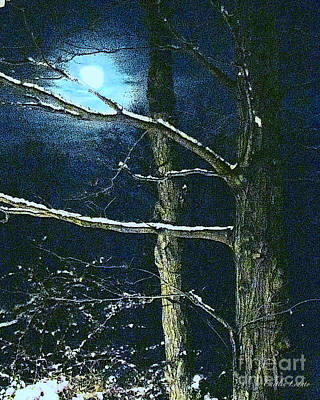 Popular Mixed Media - Full Moon In Shades Of Blue With Winter Trees by Caitlin Lodato