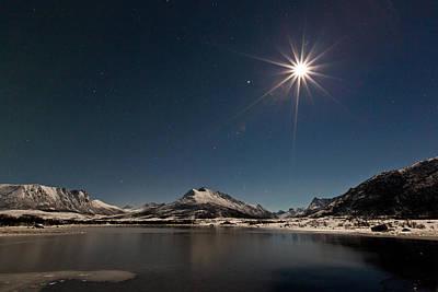 Sea Moon Full Moon Photograph - Full Moon In The Arctic by Frank Olsen