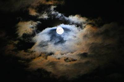 Photograph - Full Moon In The Clouds by Kathryn Meyer