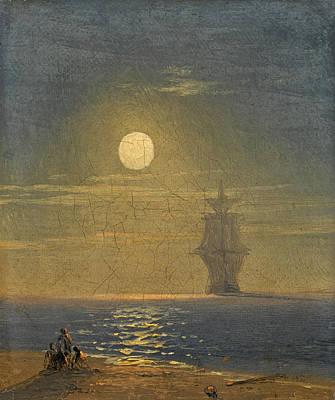 Painting - Full Moon by Ivan Konstantinovich Aivazovsky