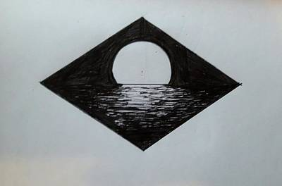 Sea Moon Full Moon Drawing - Full Moon by Lea Bagari
