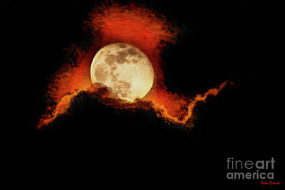Photograph - Full Moon Orange Clouds by Blake Richards