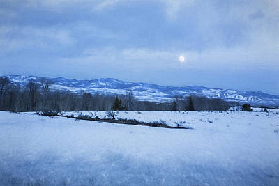 Photograph - Full Moon Over A Field Of Snow by Belinda Greb