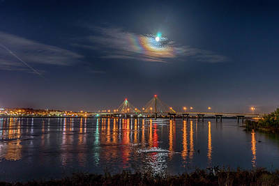 Photograph - Full Moon Over Alton And The Clark Bridge-7k_dsc1129_16-11-13 by Greg Kluempers