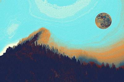 Park Scene Painting - Full Moon Over Arctic Pine Forest by Celestial Images