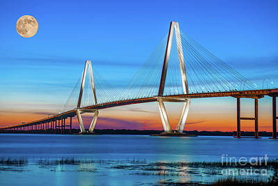 Photograph - Full Moon Over Arthur Ravenel Jr. Bridge by Dale Powell