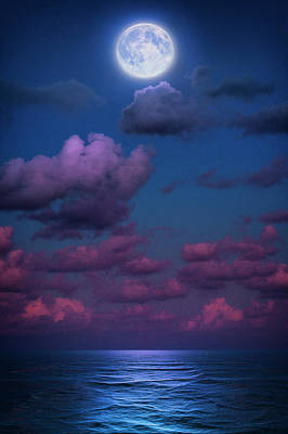 Photograph - Full Moon Over Atlantic Ocean From Jupiter Florida At Twilight by Justin Kelefas
