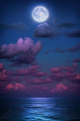 Photograph - Full Moon Over Atlantic Ocean From Jupiter Florida At Twilight by Justin Kelefas