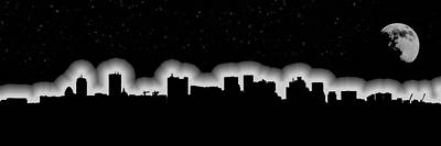 Photograph - Full Moon Over Boston Skyline Black And White by Joann Vitali