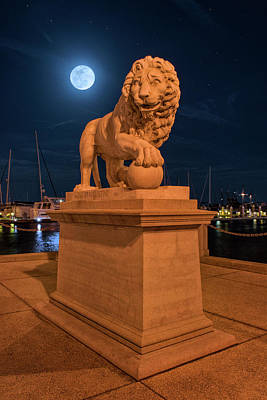 Photograph - Full Moon Over Bridge Of Lions St Augustine Florida by Justin Kelefas