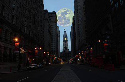 City Hall Digital Art - Full Moon Over Broad Street by Bill Cannon
