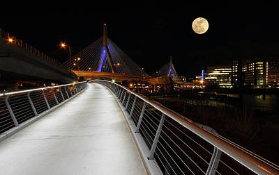 Photograph - Full Moon Over Bunker Hill Bridge by Juergen Roth