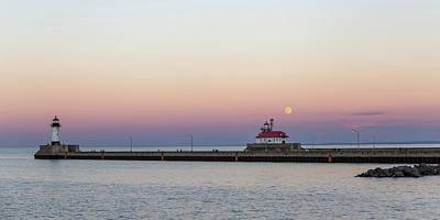 Full Moon Over Canal Park Art Print by Penny Meyers