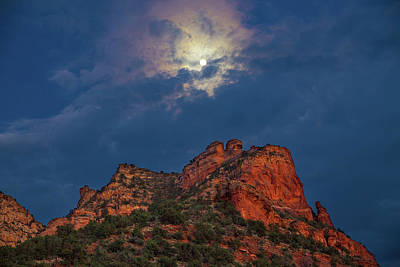 Photograph - Full Moon Over Capitol Butte by Chris Whiton