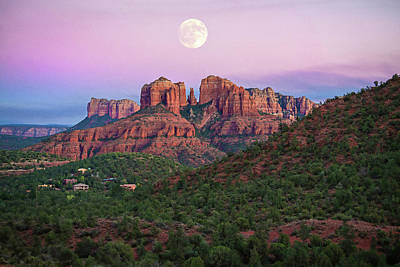 Photograph - Full Moon Over Cathedral Rock by Lynn Bauer