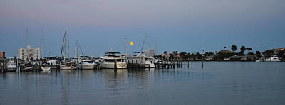 Full Moon Over Clearwater Beach Marina Art Print by Bill Cannon