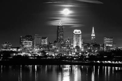 Photograph - Full Moon Over Cleveland by Dale Kincaid
