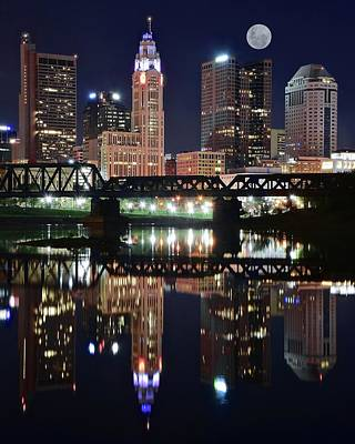 Photograph - Full Moon Over Columbus Ohio by Frozen in Time Fine Art Photography