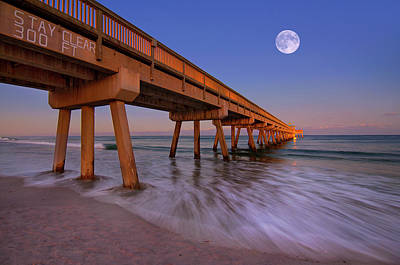 Photograph - Full Moon Over Deerfield Beach Pier by Justin Kelefas
