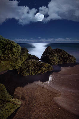 Photograph - Full Moon Over Deerfield Beach Rocks by Justin Kelefas