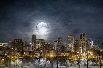 Denver Skyline Photograph - Full Moon Over Denver by Juli Scalzi