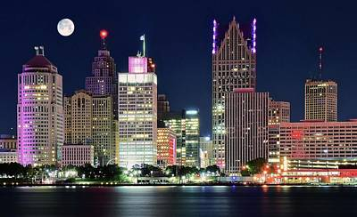 Photograph - Full Moon Over Detroit 2016 by Frozen in Time Fine Art Photography