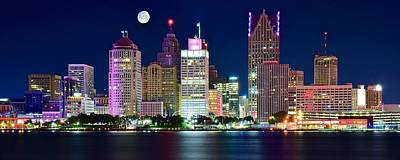 Coho Photograph - Full Moon Over Detroit by Frozen in Time Fine Art Photography