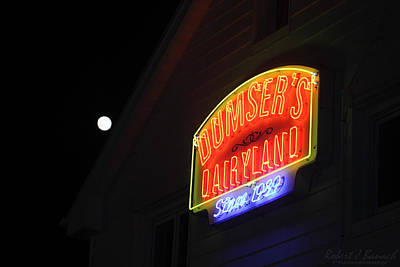 Photograph - Full Moon Over Dumser's Dairyland by Robert Banach