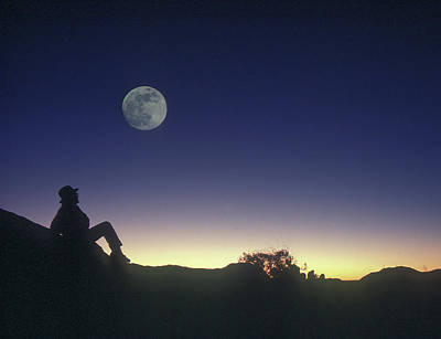 Photograph - Full Moon Over Enchanted Rock In Texas by Garry McMichael