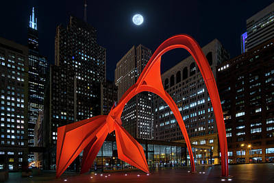 Photograph - Full Moon Over Flamingo In Downtown Chicago by Justin Kelefas