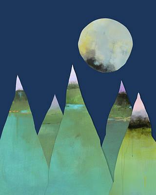 Mountain Art Mixed Media - Full Moon Over Green Mountains by Jacquie Gouveia