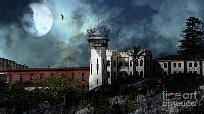 Photograph - Full Moon Over Hard Time San Quentin California State Prison 7d18546 V2 Long by San Francisco Art and Photography