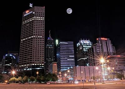 Photograph - Full Moon Over Indy Towers by Frozen in Time Fine Art Photography