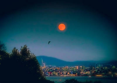 Photograph - Full Red Moon Over Istanbul by Lilia D