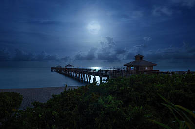 Photograph - Full Moon Over Juno Beach Pier by Justin Kelefas