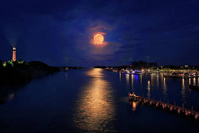 Photograph - Full Moon Over Jupiter Inlet And Lighthouse by Justin Kelefas